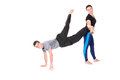 Sportive people funny doing stretching exercises isolated on white Royalty Free Stock Photos