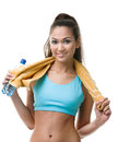Sportive woman with bottle of water Stock Image