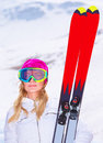 stock image of  Sportive woman with ski