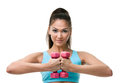 Sportive woman works out with weights Stock Photo