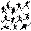 Sports athletes isolated silhouettes in Royalty Free Stock Photo