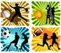 Sports background basketball baseball american football and soccer Royalty Free Stock Photography