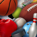 Sports background concept with a group of athletic equipment as a football basketball baseball soccer tennis golf ball and Stock Image
