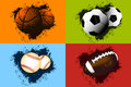 Sports ball background basketball baseball american football and soccer Royalty Free Stock Image