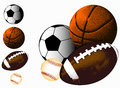 Sports ball background basketball baseball american football and soccer Royalty Free Stock Photos