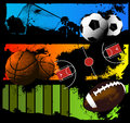 Sports ball background soccer basketball american football Royalty Free Stock Photos