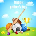 Sports ball and trophy illustration of in father s day background Royalty Free Stock Photos