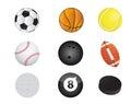 Sports balls equipment icon set illustration design over white Royalty Free Stock Photo