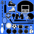 Sports balls and equipment in vector Stock Photography