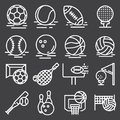 Sports Balls Icons Set on Gray Background. Vector Royalty Free Stock Photo
