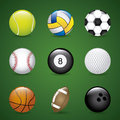 Sports balls over green background vector illustration Royalty Free Stock Photography
