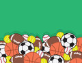Sports balls pile in a large with green background Royalty Free Stock Photos