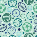 Sports balls seamless patterns backgrounds with hand drawn elements Stock Images