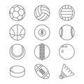 Sports balls vector thin line icons. Basketball, soccer, tennis, football, baseball, bowling, golf, volleyball