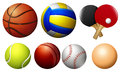 Sports balls on white