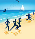 Sports on beach an illustration of people playing and doing various a Royalty Free Stock Photo