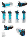 Sports bottle with a water filter. Water bottle filters the water to clean, drinkable. Royalty Free Stock Photo