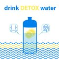 Sports bottle with water. Water for harmony and health with lemon. Drink detox water. Illustration in blue color