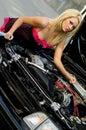 Sports Car Blonde Stock Photo