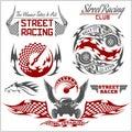 Sports car club emblems, labels and badges set.