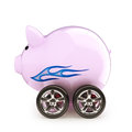 Sports car savings piggy bank with wheels on a white back ground money on a vehicle concept for buying renting insurance fuel Stock Images