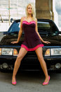 Sports Car and Sexy Girl Blonde Stock Images