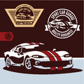 Sports car vector sports car club emblem label and stamp set Royalty Free Stock Photography