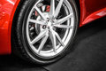 Sports car wheel close up of front Royalty Free Stock Photos