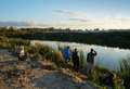 Sports competitions on fishing on catching of a carp and a sturgeon fishermen on lake kostroma russia at september with Royalty Free Stock Photos