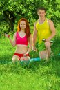 Sports Couple With Dumbbells