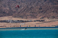 Sports in dahab of egypt back on mount sinai superior terrain let there be sailing aquatic paraglider surfing scuba diving sea Stock Photography