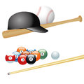 Sports different equipment for different kind of Stock Images