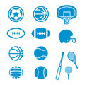 Sports equipment and balls icons simple illustrated of various Royalty Free Stock Photos