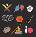 Sports equipment color icons Stock Image