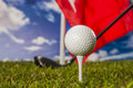 Sports equipment golf summer colorful concept with grass Royalty Free Stock Photography