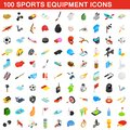 100 sports equipment icons set, isometric 3d style Royalty Free Stock Photo