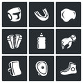 Sports Equipment for martial arts icons set. Vector Illustration. Royalty Free Stock Photo