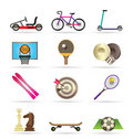 Sports equipment and objects icons Stock Photo