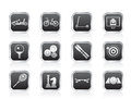 Sports equipment and objects icons Royalty Free Stock Photo