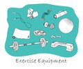Sports equipment outline set gym Stock Photography