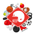Sports equipment set icons Royalty Free Stock Photo