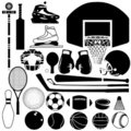 Sports equipment variety Stock Images