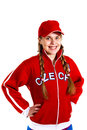 Sports fan in national jersey Royalty Free Stock Photo