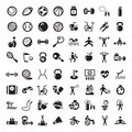 Sports and fitnes icons set Royalty Free Stock Image