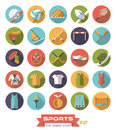 Sports flat design round icons vector set 2 Royalty Free Stock Photo