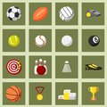 Sports flat icons set of football baseball basketball and tennis balls isolated vector illustration Stock Images