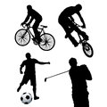 Sports four black silhouettes of people playing some Royalty Free Stock Images