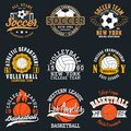 Sports game typography - soccer, volleyball and basketball. Set of athletic print for t-shirt design. Graphics for sport apparel.