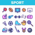 stock image of  Sports Games Equipment Linear Vector Icons Set