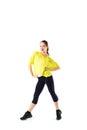 Sports girl doing exercises isolated on white background Royalty Free Stock Photos